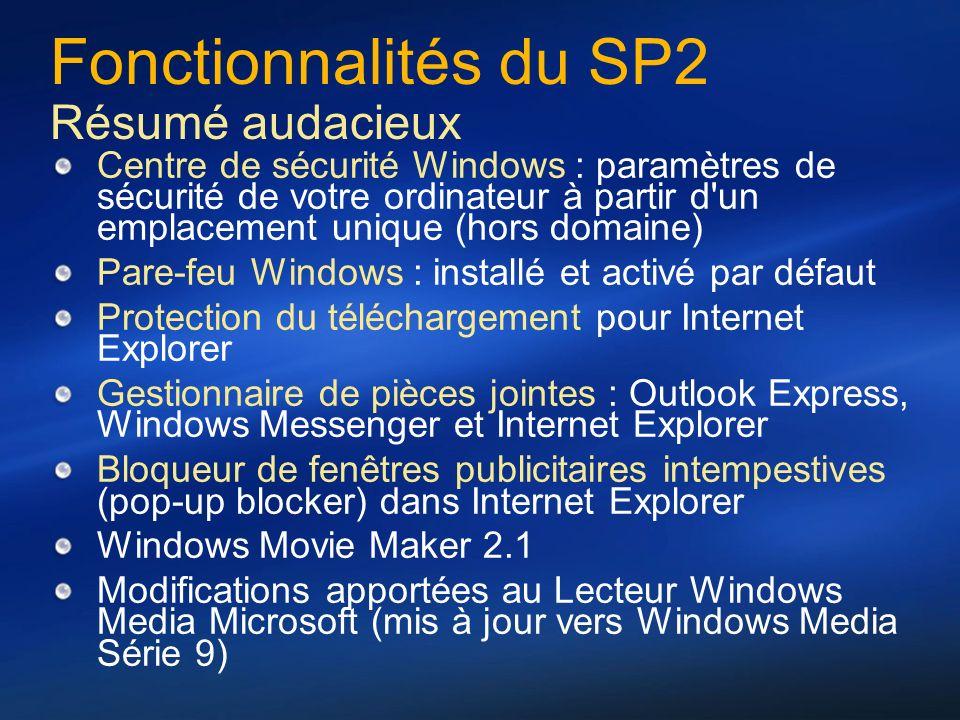 Fonctionnalités du SP2 Résumé audacieux Centre de sécurité Windows : paramètres de sécurité de votre ordinateur à partir d'un emplacement unique (hors