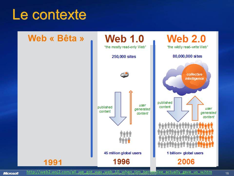 Forum architectes, Microsoft France – jeudi 19 octobre 2006 18 Le contexte 1991 Web « Bêta » http://web2.wsj2.com/all_we_got_was_web_10_when_tim_bernerslee_actually_gave_us_w.htm