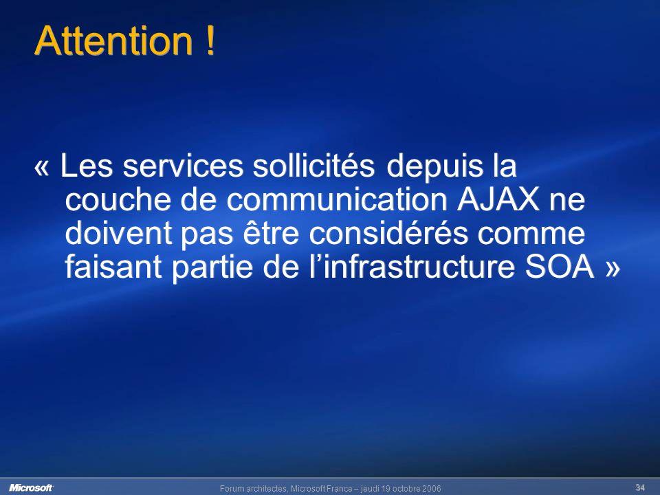 Forum architectes, Microsoft France – jeudi 19 octobre 2006 34 Attention .