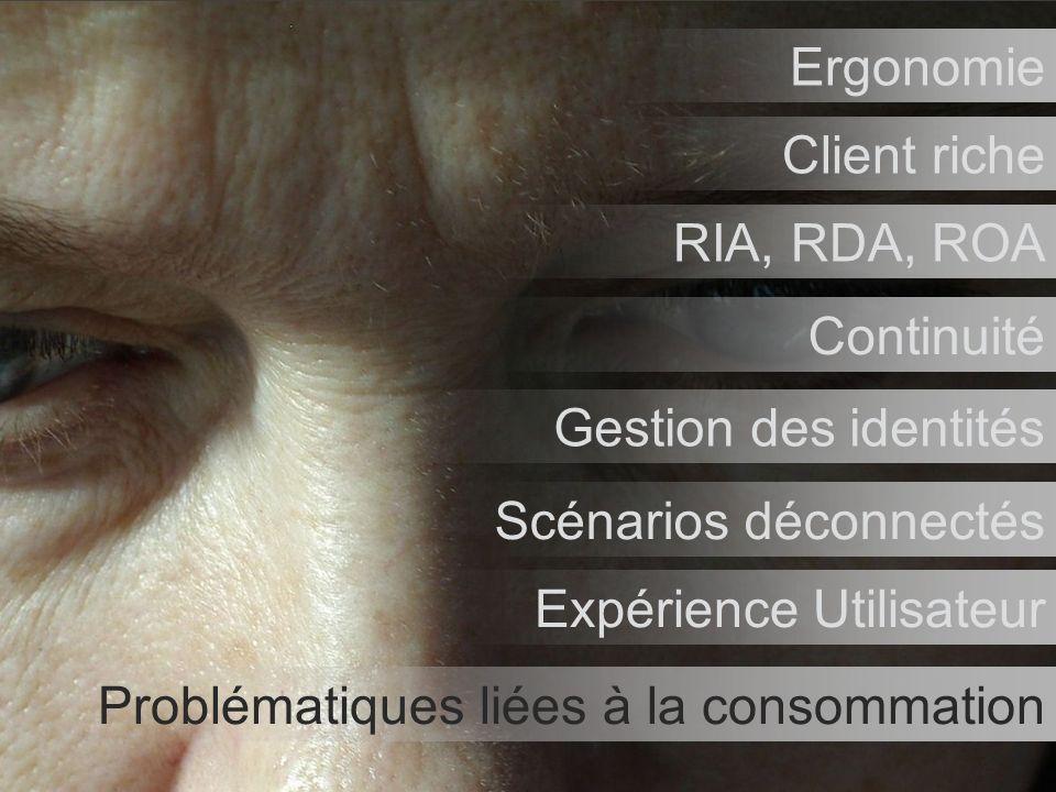 5 Problématiques liées à la consommation Ergonomie Client riche RIA, RDA, ROA Continuité Gestion des identités Scénarios déconnectés Expérience Utilisateur