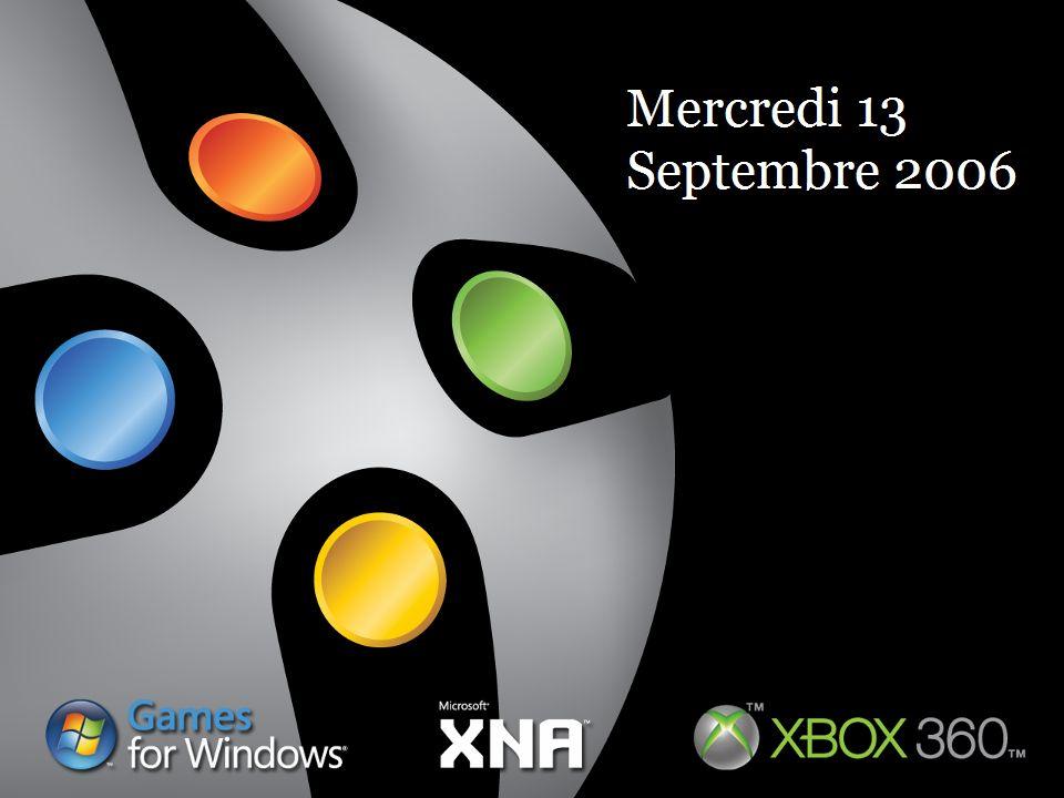Architecture générale XNA Framework Plateforme.NET pour les jeux XNA Game Studio Express XNA Framework XNA Game Studio Express Basé sur C# Express pour supporter XNA Framework Rajoute la possibilité dintégrer le contenu du jeu dans lenvironnement Plateforme