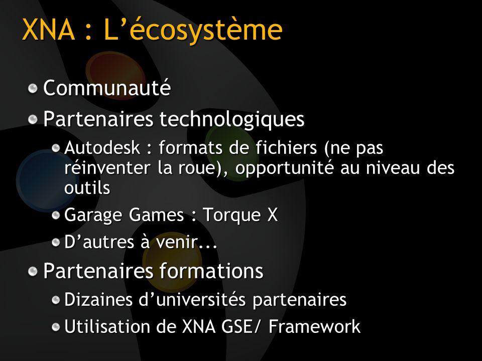 XNA : Lécosystème Communauté Partenaires technologiques Autodesk : formats de fichiers (ne pas réinventer la roue), opportunité au niveau des outils G