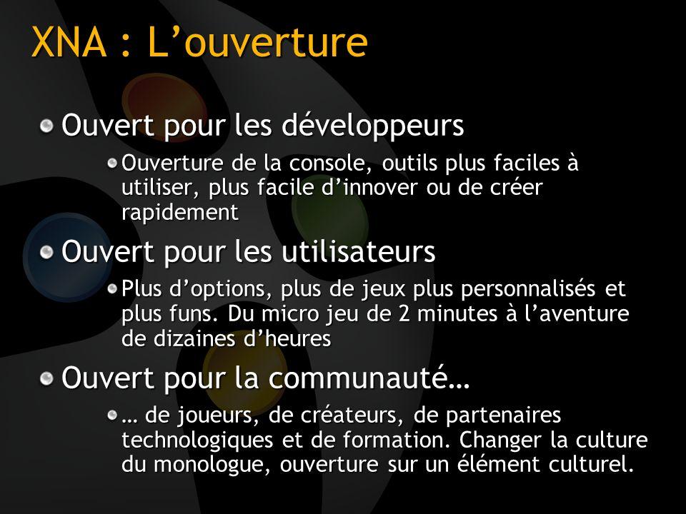 XNA : Louverture Ouvert pour les développeurs Ouverture de la console, outils plus faciles à utiliser, plus facile dinnover ou de créer rapidement Ouv
