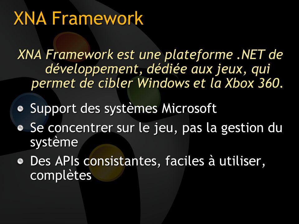 XNA Framework XNA Framework est une plateforme.NET de développement, dédiée aux jeux, qui permet de cibler Windows et la Xbox 360. Support des système