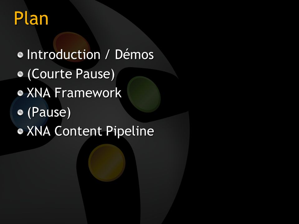 Plan Introduction / Démos (Courte Pause) XNA Framework (Pause) XNA Content Pipeline