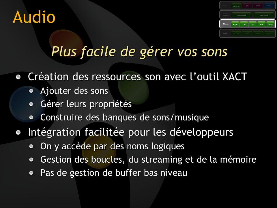 Audio Plus facile de gérer vos sons Création des ressources son avec loutil XACT Ajouter des sons Gérer leurs propriétés Construire des banques de son