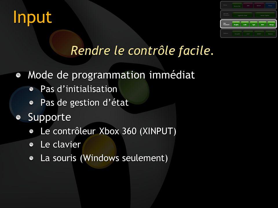 Input Rendre le contrôle facile. Mode de programmation immédiat Pas dinitialisation Pas de gestion détat Supporte Le contrôleur Xbox 360 (XINPUT) Le c