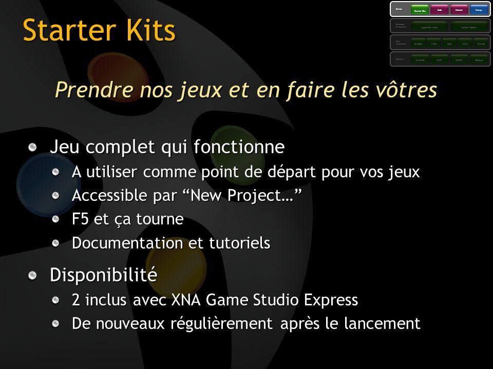 Starter Kits Prendre nos jeux et en faire les vôtres Jeu complet qui fonctionne A utiliser comme point de départ pour vos jeux Accessible par New Proj