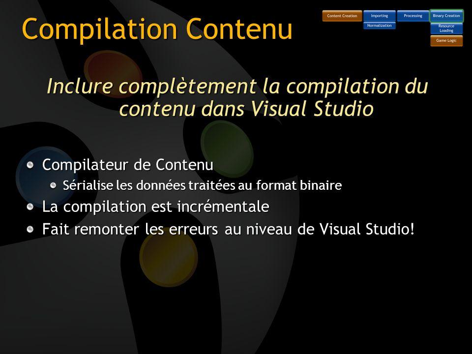 Compilation Contenu Inclure complètement la compilation du contenu dans Visual Studio Compilateur de Contenu Sérialise les données traitées au format