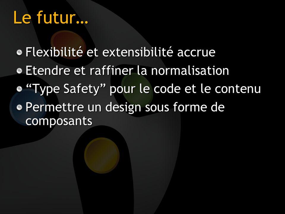 Le futur… Flexibilité et extensibilité accrue Etendre et raffiner la normalisation Type Safety pour le code et le contenu Permettre un design sous for