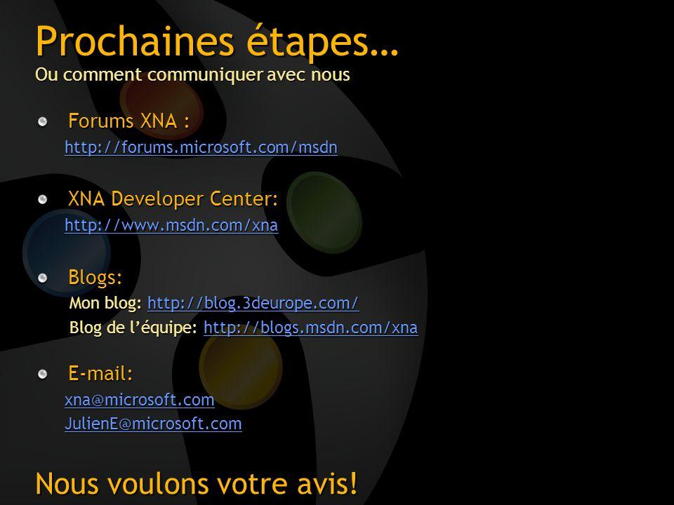 Prochaines étapes… Ou comment communiquer avec nous Forums XNA : http://forums.microsoft.com/msdn XNA Developer Center: http://www.msdn.com/xna Blogs: