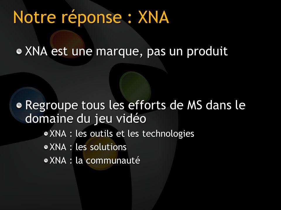 Notre réponse : XNA XNA est une marque, pas un produit Regroupe tous les efforts de MS dans le domaine du jeu vidéo XNA : les outils et les technologi