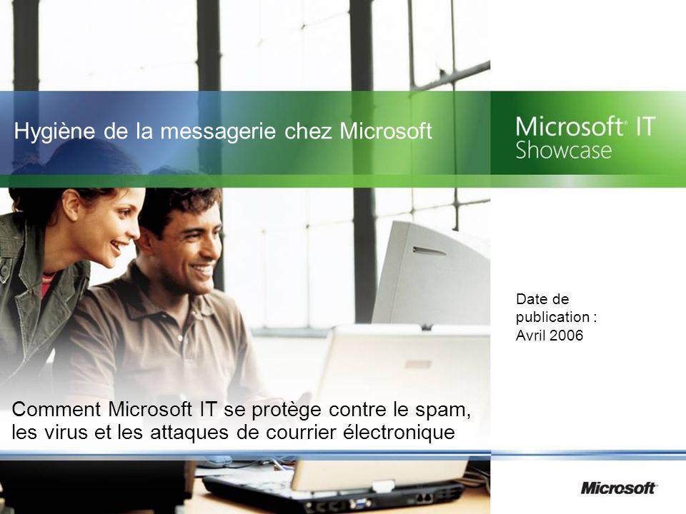 Hygiène de la messagerie chez Microsoft Comment Microsoft IT se protège contre le spam, les virus et les attaques de courrier électronique Date de pub