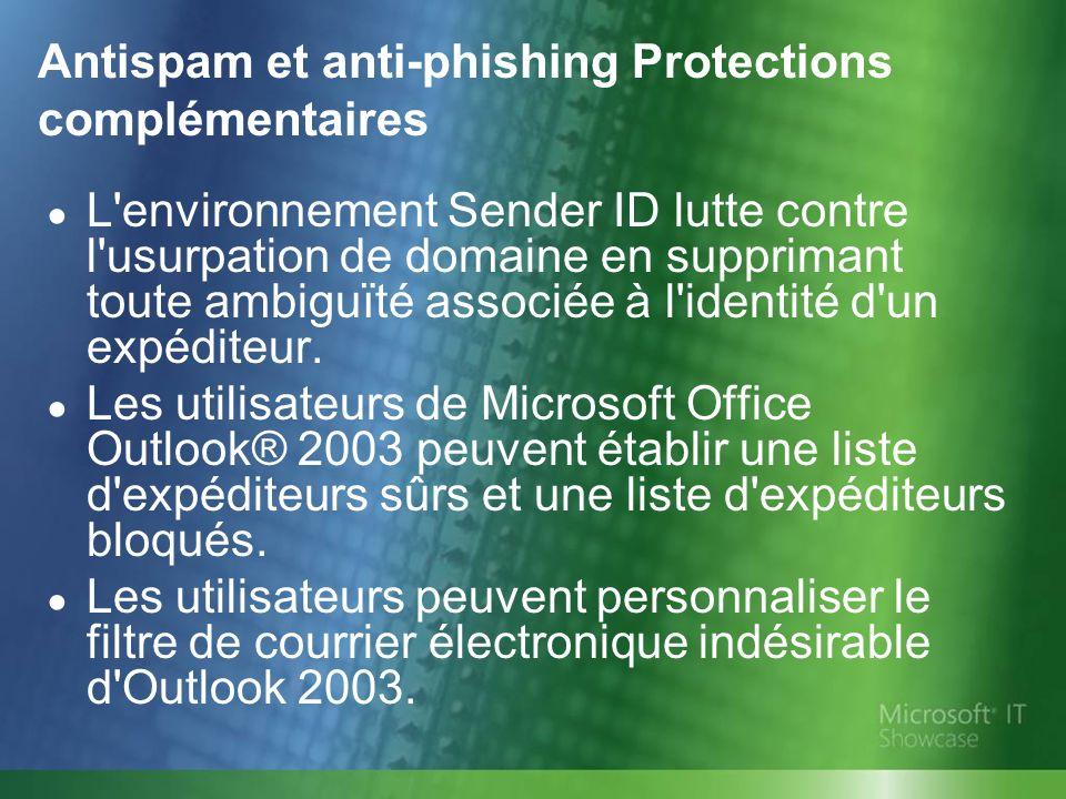 Antispam et anti-phishing Protections complémentaires L'environnement Sender ID lutte contre l'usurpation de domaine en supprimant toute ambiguïté ass