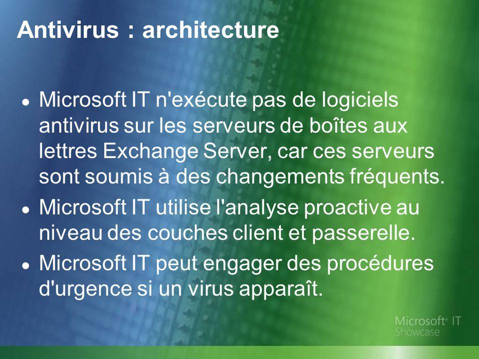 Microsoft IT n'exécute pas de logiciels antivirus sur les serveurs de boîtes aux lettres Exchange Server, car ces serveurs sont soumis à des changemen