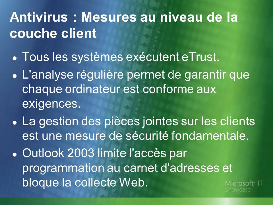 Antivirus : Mesures au niveau de la couche client Tous les systèmes exécutent eTrust. L'analyse régulière permet de garantir que chaque ordinateur est