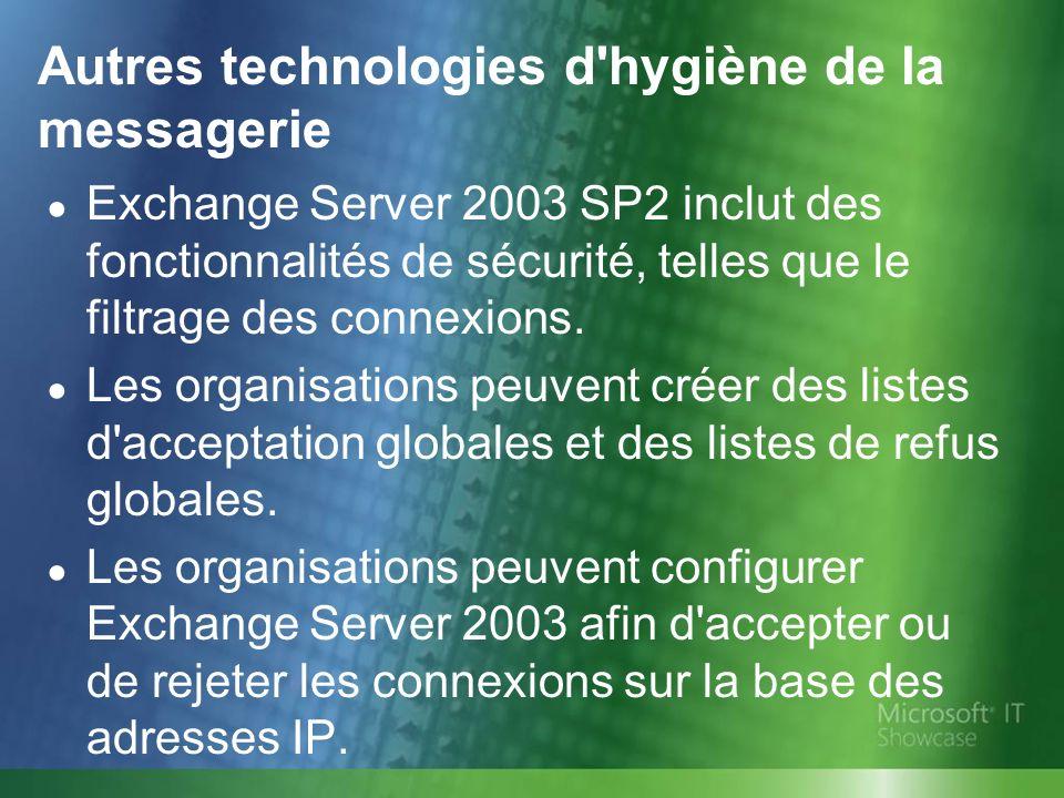 Autres technologies d'hygiène de la messagerie Exchange Server 2003 SP2 inclut des fonctionnalités de sécurité, telles que le filtrage des connexions.