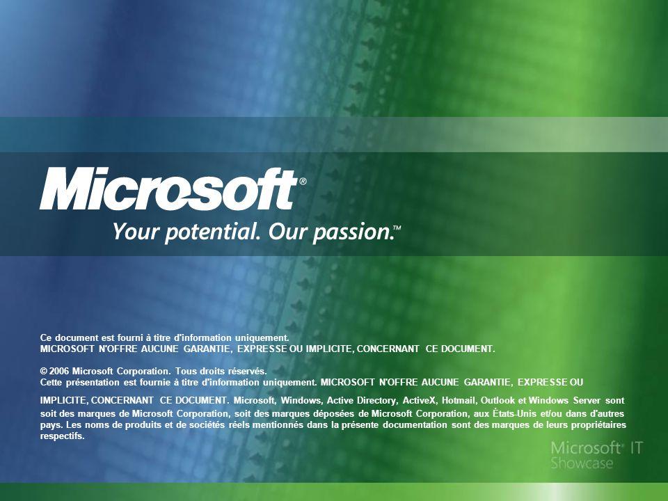 Ce document est fourni à titre d'information uniquement. MICROSOFT N'OFFRE AUCUNE GARANTIE, EXPRESSE OU IMPLICITE, CONCERNANT CE DOCUMENT. © 2006 Micr