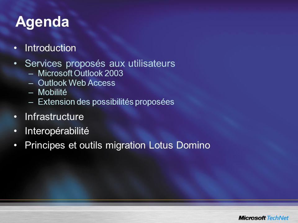Agenda Introduction Services proposés aux utilisateurs –Microsoft Outlook 2003 –Outlook Web Access –Mobilité –Extension des possibilités proposées Inf