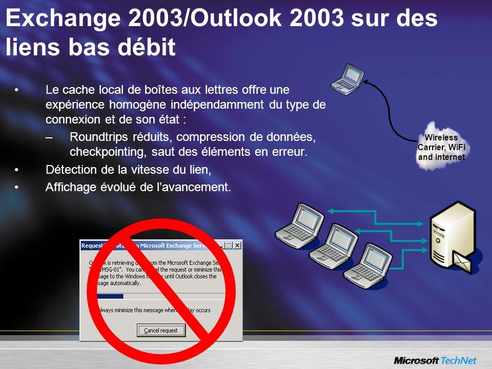 Exchange 2003/Outlook 2003 sur des liens bas débit Wireless Carrier, WiFi and Internet Le cache local de boîtes aux lettres offre une expérience homog