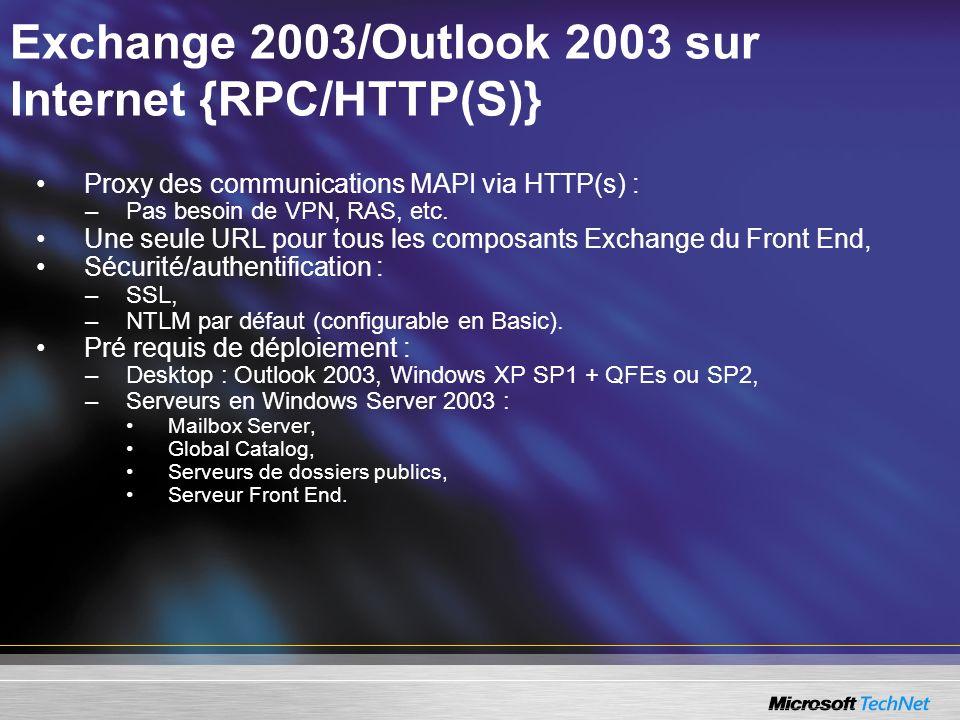 Exchange 2003/Outlook 2003 sur Internet {RPC/HTTP(S)} Proxy des communications MAPI via HTTP(s) : –Pas besoin de VPN, RAS, etc. Une seule URL pour tou