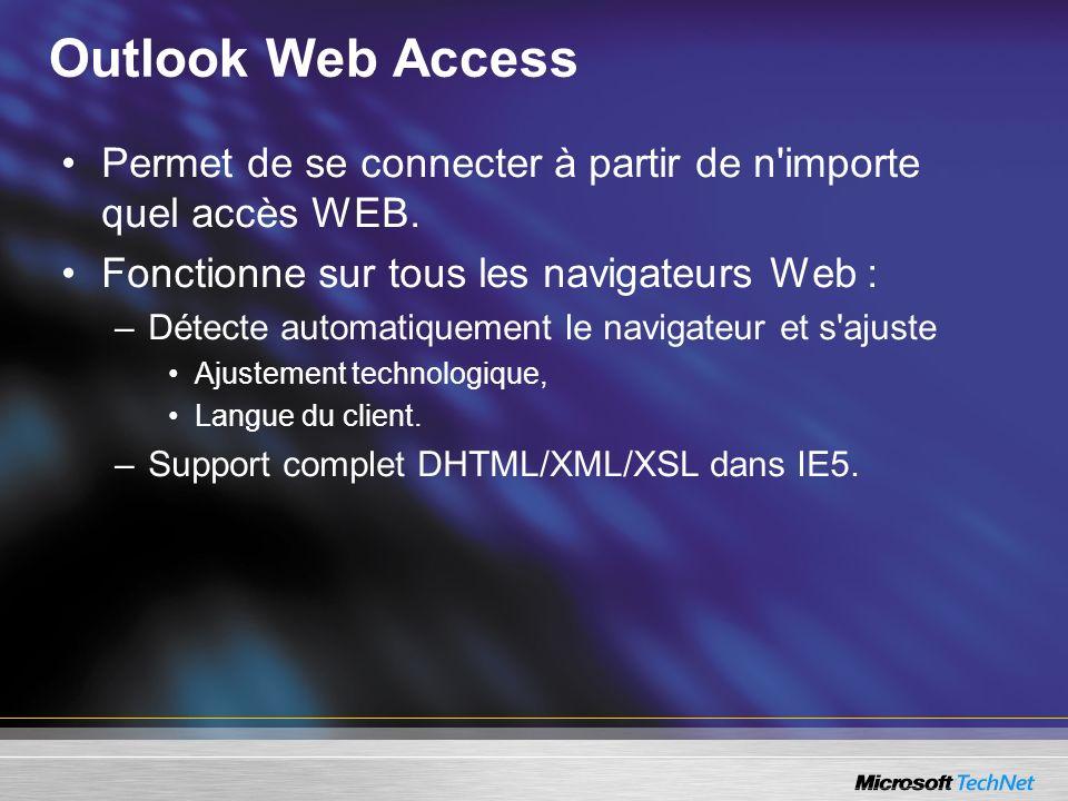 Outlook Web Access Permet de se connecter à partir de n'importe quel accès WEB. Fonctionne sur tous les navigateurs Web : –Détecte automatiquement le