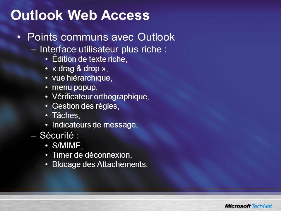 Outlook Web Access Points communs avec Outlook –Interface utilisateur plus riche : Édition de texte riche, « drag & drop », vue hiérarchique, menu pop