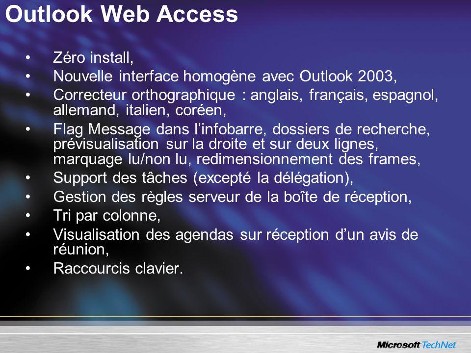 Outlook Web Access Zéro install, Nouvelle interface homogène avec Outlook 2003, Correcteur orthographique : anglais, français, espagnol, allemand, ita