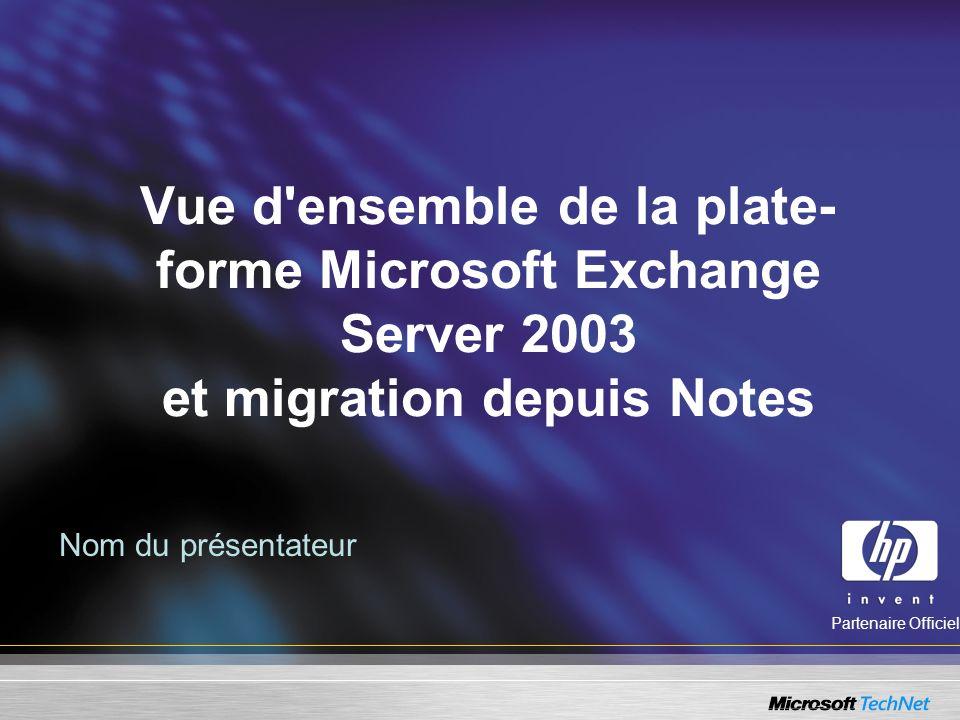 Vue d'ensemble de la plate- forme Microsoft Exchange Server 2003 et migration depuis Notes Nom du présentateur Partenaire Officiel