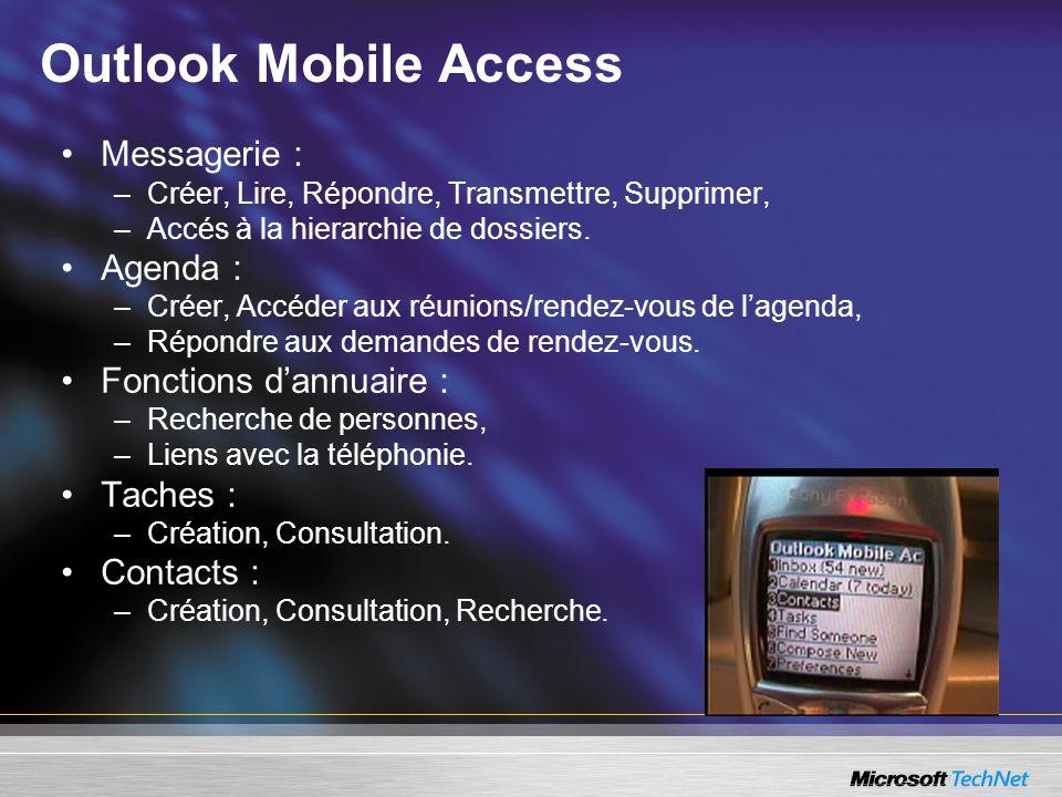 Outlook Mobile Access Messagerie : –Créer, Lire, Répondre, Transmettre, Supprimer, –Accés à la hierarchie de dossiers. Agenda : –Créer, Accéder aux ré