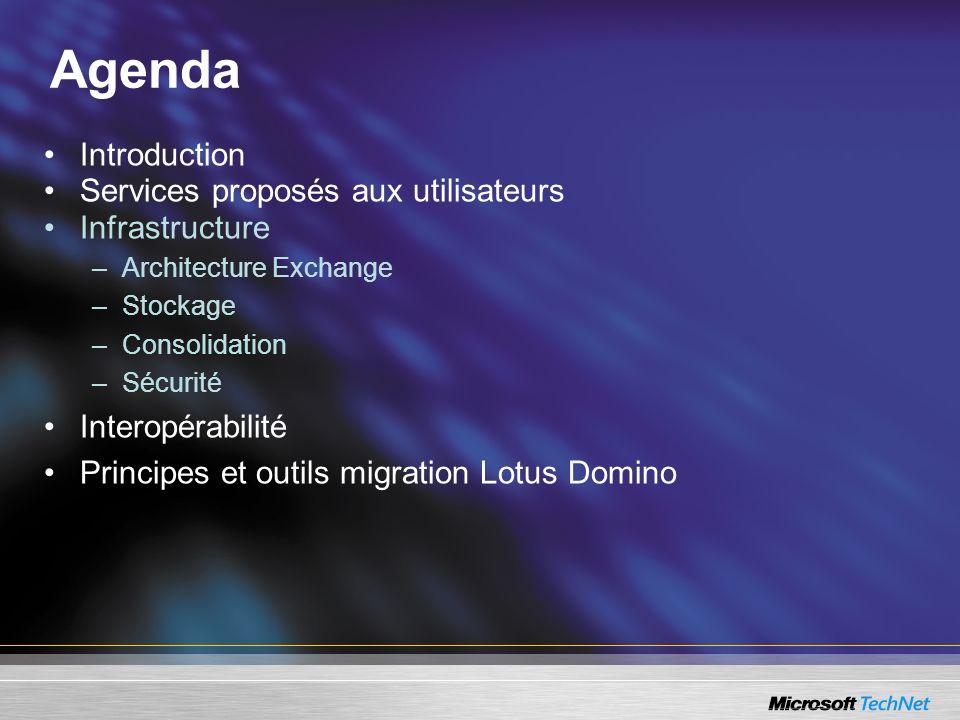 Agenda Introduction Services proposés aux utilisateurs Infrastructure –Architecture Exchange –Stockage –Consolidation –Sécurité Interopérabilité Princ
