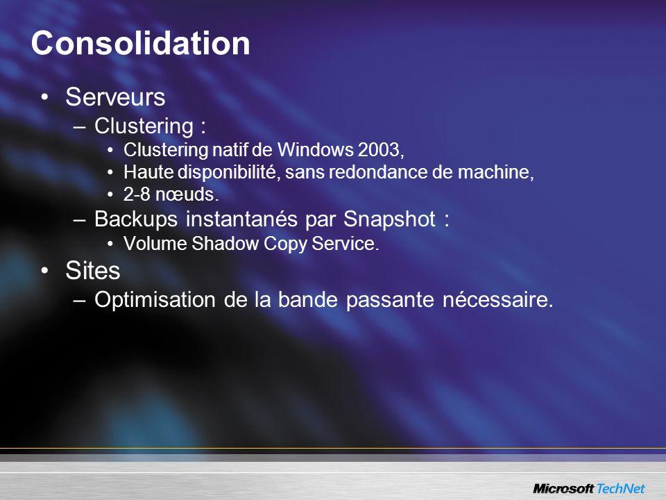 Consolidation Serveurs –Clustering : Clustering natif de Windows 2003, Haute disponibilité, sans redondance de machine, 2-8 nœuds. –Backups instantané