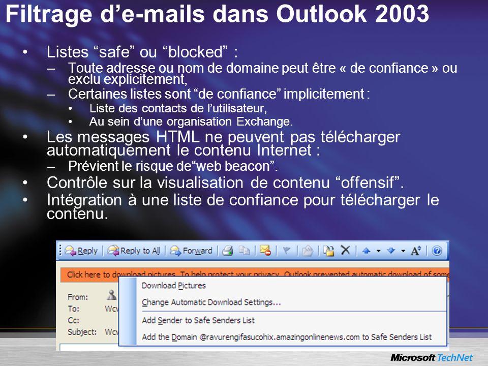Filtrage de-mails dans Outlook 2003 Listes safe ou blocked : –Toute adresse ou nom de domaine peut être « de confiance » ou exclu explicitement, –Cert