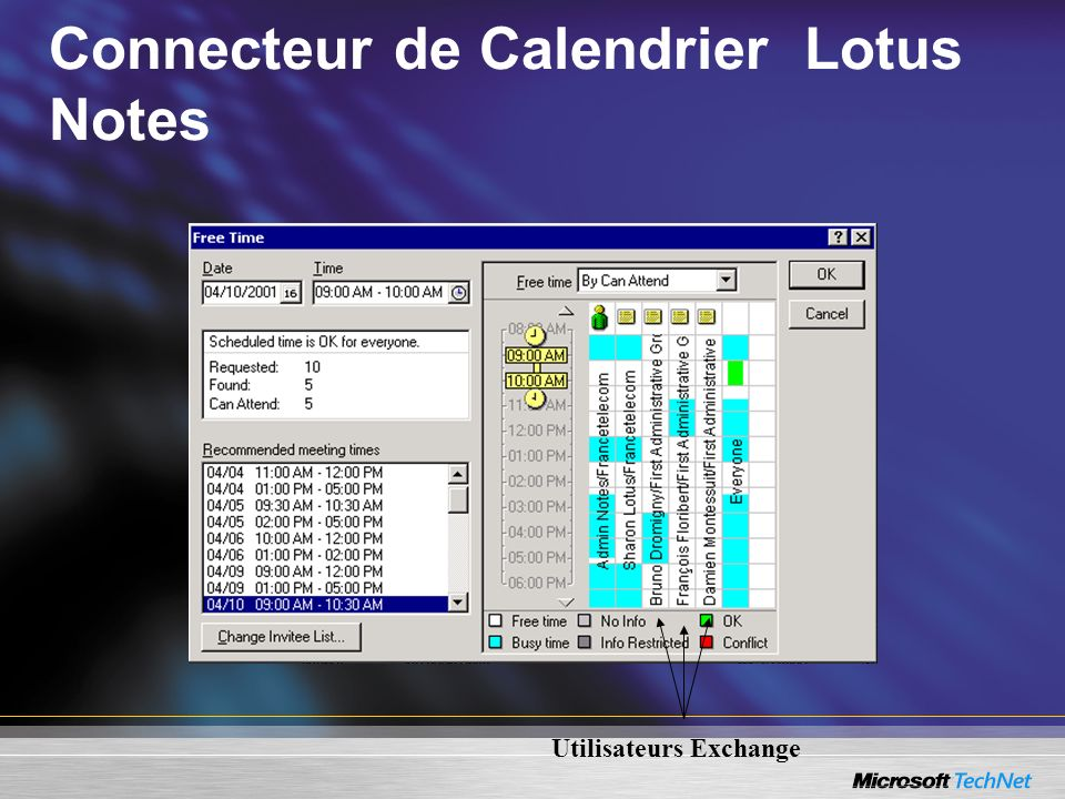 Utilisateurs Exchange Connecteur de Calendrier Lotus Notes
