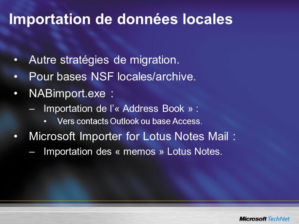 Importation de données locales Autre stratégies de migration. Pour bases NSF locales/archive. NABimport.exe : –Importation de l« Address Book » : Vers