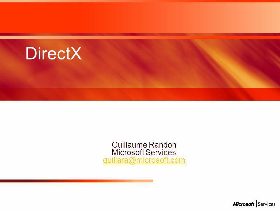 DirectX Guillaume Randon Microsoft Services guillara@microsoft.com