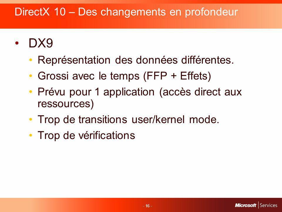- 16 - DirectX 10 – Des changements en profondeur DX9 Représentation des données différentes.