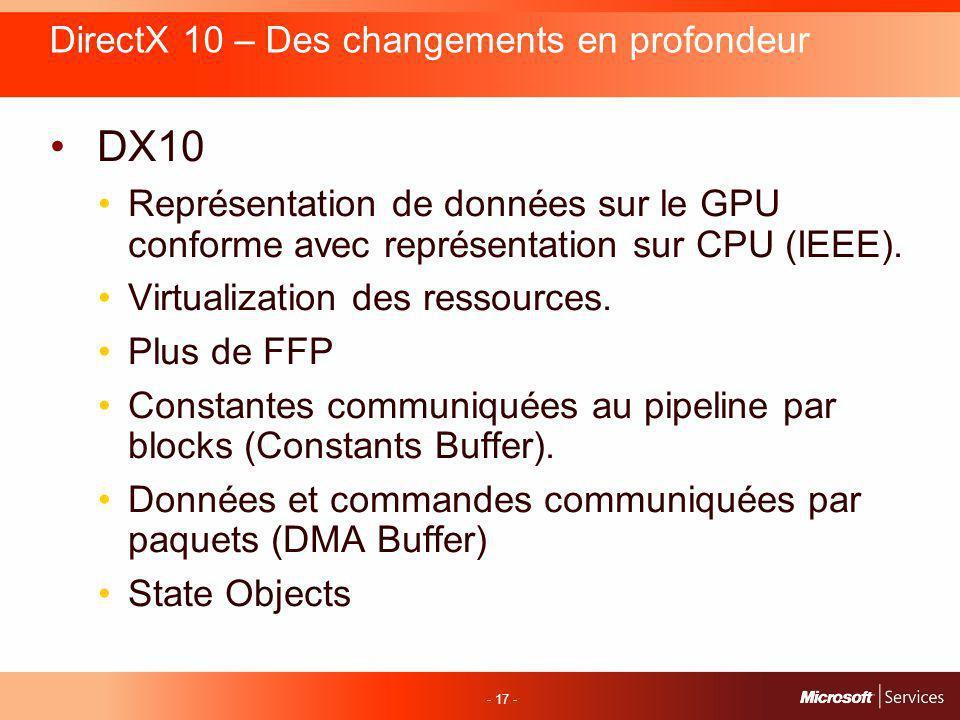 - 17 - DirectX 10 – Des changements en profondeur DX10 Représentation de données sur le GPU conforme avec représentation sur CPU (IEEE).