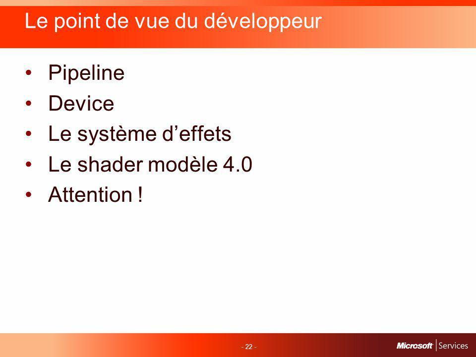 - 22 - Le point de vue du développeur Pipeline Device Le système deffets Le shader modèle 4.0 Attention !