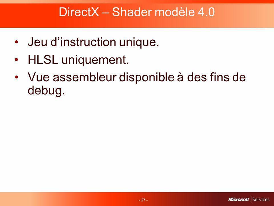 - 27 - DirectX – Shader modèle 4.0 Jeu dinstruction unique.