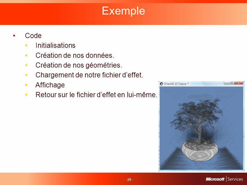 - 29 - Exemple Code Initialisations Création de nos données.