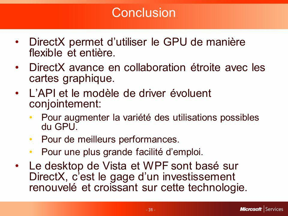 - 31 - Conclusion DirectX permet dutiliser le GPU de manière flexible et entière.