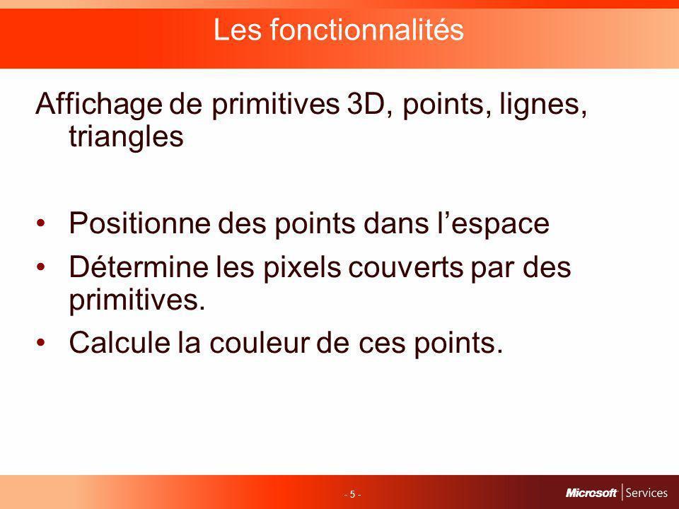 - 5 - Les fonctionnalités Affichage de primitives 3D, points, lignes, triangles Positionne des points dans lespace Détermine les pixels couverts par des primitives.