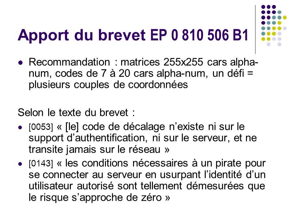 Apport du brevet EP 0 810 506 B1 Recommandation : matrices 255x255 cars alpha- num, codes de 7 à 20 cars alpha-num, un défi = plusieurs couples de coordonnées Selon le texte du brevet : [0053] « [le] code de décalage nexiste ni sur le support dauthentification, ni sur le serveur, et ne transite jamais sur le réseau » [0143] « les conditions nécessaires à un pirate pour se connecter au serveur en usurpant lidentité dun utilisateur autorisé sont tellement démesurées que le risque sapproche de zéro »