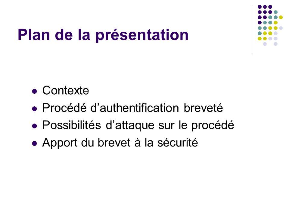 Plan de la présentation Contexte Procédé dauthentification breveté Possibilités dattaque sur le procédé Apport du brevet à la sécurité