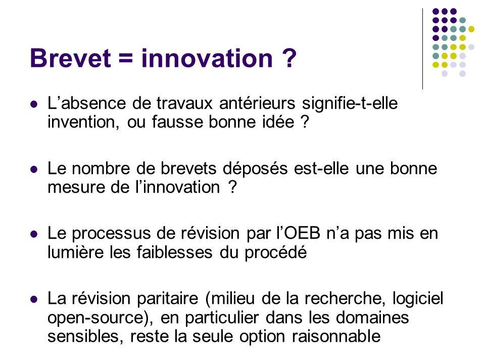 Brevet = innovation .
