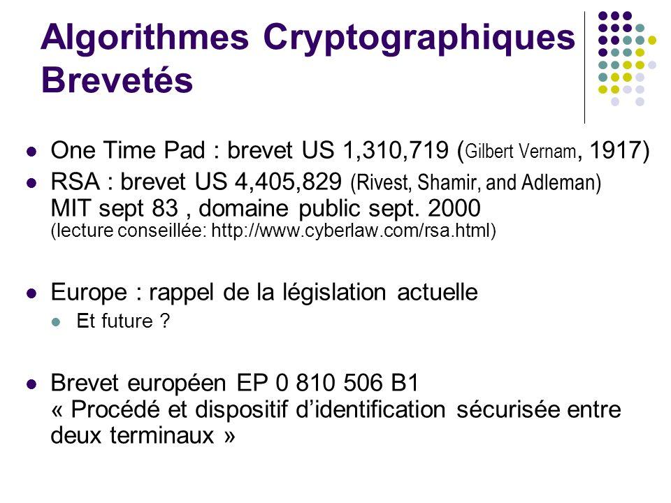 Algorithmes Cryptographiques Brevetés One Time Pad : brevet US 1,310,719 ( Gilbert Vernam, 1917) RSA : brevet US 4,405,829 (Rivest, Shamir, and Adleman) MIT sept 83, domaine public sept.