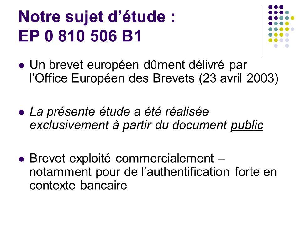 Notre sujet détude : EP 0 810 506 B1 Un brevet européen dûment délivré par lOffice Européen des Brevets (23 avril 2003) La présente étude a été réalisée exclusivement à partir du document public Brevet exploité commercialement – notamment pour de lauthentification forte en contexte bancaire