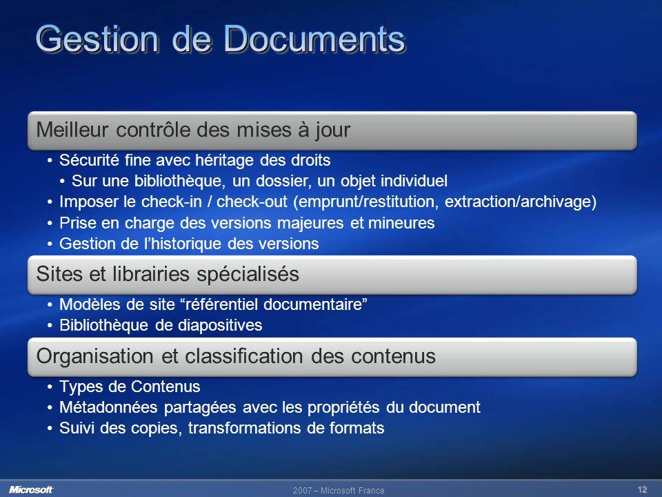 2007 – Microsoft France 12 Meilleur contrôle des mises à jour Sécurité fine avec héritage des droits Sur une bibliothèque, un dossier, un objet indivi