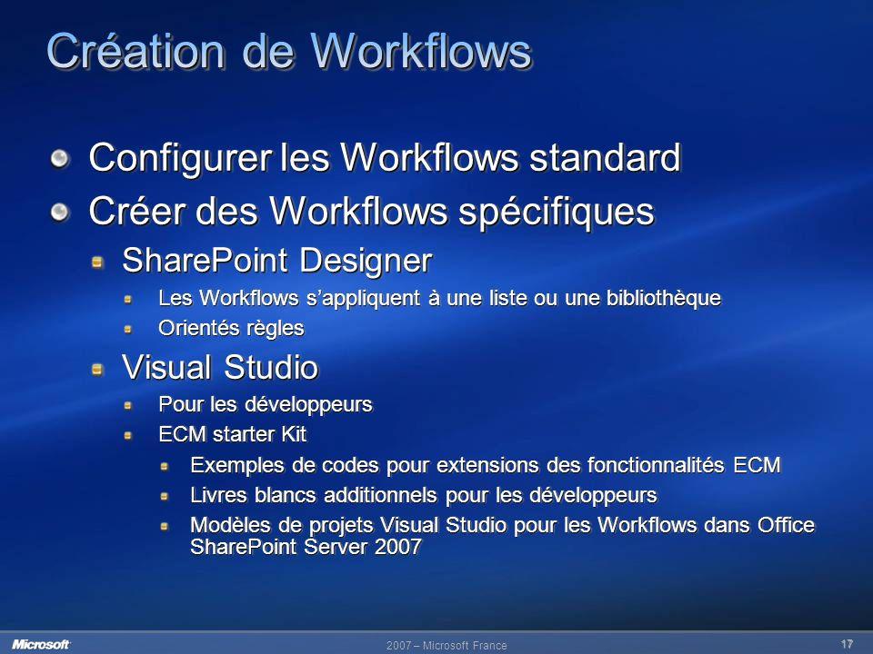 17 Configurer les Workflows standard Créer des Workflows spécifiques SharePoint Designer Les Workflows sappliquent à une liste ou une bibliothèque Ori